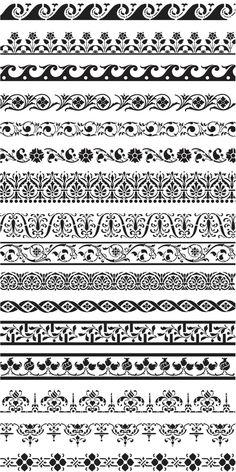 Ornament Borders Vector Vector Graphics Vector Illustrations Borders Graphics Illustrations Happy New Year Simbolos Tattoo, Tatoo Henna, Band Tattoo, Border Pattern, Border Design, Pattern Art, Pattern Design, Design Design, Illustrations Vintage