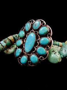 Vintage Navajo Squash Blossom Ring Turquoise estate item unsigned sterling silver size 7 12