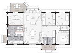 Selkeää suomalaista arkkitehtuuria edustavassa Kontio Aaltolassa riittää tilaa yhdessä tasossa isommallekin perheelle. Future House, My House, Bungalow, Technical Drawing, House Plans, Floor Plans, House Design, Flooring, How To Plan
