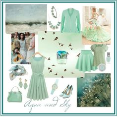 Aqua and Sky by giovanina-001 on Polyvore featuring VILA, River Island, Fendi, Alexis Bittar, Charlotte Russe, claire's, Van Cleef & Arpels and Halston