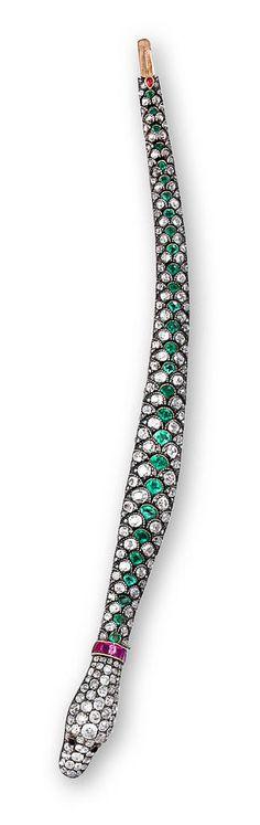 Antique diamond and emerald snake bracelet