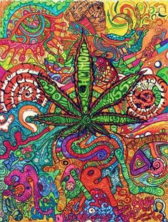Cool! Psychedelic Colors & the Marijuana Leaf