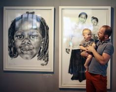 Holden Manz Gallery in Franschhoek - Migo with his son. Beautiful pieces on display