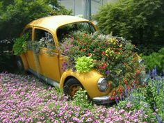 For the perfect garden Sarah's Garden, Topiary Garden, Garden Ideas, Flower Car, Flower Beds, Volkswagen, Bug Car, Cool Bugs, Weird Plants