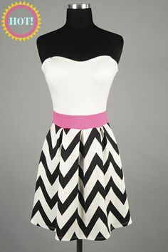 *** New Style *** Flirty Sweetheart Swing Dress with Pleated Chevron Skirt and Pop of Neon Cinched Waist.