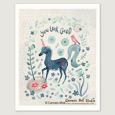 "8.5""x11"" You Look Good Art Print by Carmen Mok"