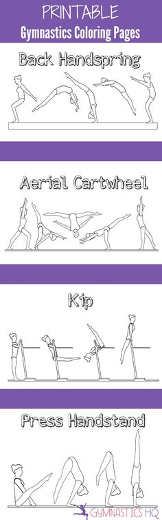 Printable Gymnastics Coloring Pages-- 5 pages of gymnastics skills to color (Step Exercises Life)