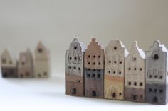 5 Dutch style clay buildings European by stonewarestudiouk on Etsy Clay Houses, Ceramic Houses, Miniature Houses, Clay Crafts, Home Crafts, Kitsch, Gift For Architect, Pottery Houses, Dutch House