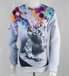 top fasion men/women's novelty print the big bang of painter head Harajuku sweatshirts spring/autumn casual tops clothing Funny Sweatshirts, Hoodies, Fashion Wear, Mens Fashion, Fasion, Harajuku Fashion, Harajuku Style, Casual Fall, Casual Tops