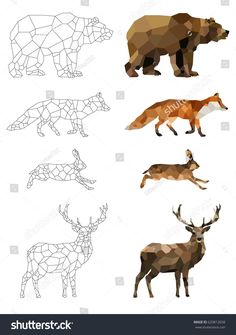 Low poly vector animals set: (bear, fox, hare, deer) on a transparent background. Set of outline animals. Set of polygonal animals icons, logo. Low Poly, Geometric Deer, Geometric Drawing, Deer Drawing, Illustrator, Polygon Art, Barn Quilts, Animal Nursery, Animal Paintings