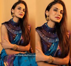 Shilpa Reddy celebrated Sri Rama Navami wearing a teal blue handloom saree paired with pleated collar neck blouse. She styled her look with a pair of gold jhumkas, kada and a blue bindi! Latest Designer Sarees, Traditional Sarees, Bindi, Pure Silk Sarees, Handloom Saree, Collar Blouse, Saree Blouse Designs, India Fashion, Her Style