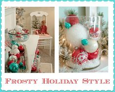 Fox Hollow Cottage: A Cottage Christmas Mantel {Holiday Teal Christmas Tree, Turquoise Christmas, Cottage Christmas, Christmas Mantels, Christmas Love, Outdoor Christmas, Christmas Holidays, Christmas Crafts, Christmas Ideas