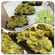 Homemade Avocado-Egg Spread...avocado, fried eggs, himalayan salt, pepper, dried tomatoes, cucumber