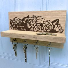 Personalised Rose Oak Key Holder by Urban Twist, the perfect gift for Explore more unique gifts in our curated marketplace. Wooden Key Holder, House Keys, Fine Sand, On The High Street, Rose Design, Family Gifts, Solid Oak, Key Holders