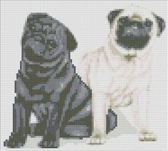 This pattern is of two sitting Pug puppies and uses 30 colours. The pattern size is 93 x 84 stitches. Each chart is printed over four pages and
