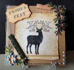 Eine gestempelte,      wunderschöne Weihnachtskarte mit einem tollen Hirsch