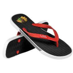 Forever Collectibles Chicago Blackhawks Thong Sandals ($15) ❤ liked on Polyvore featuring shoes, sandals, red, toe post sandals, thong sandals, red sandals, lightweight shoes and red shoes