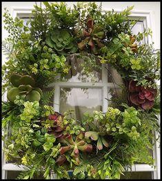 Succulent Wreath, Boxwood Wreath, Wreath for Door, Front Door Wreath, Faux…