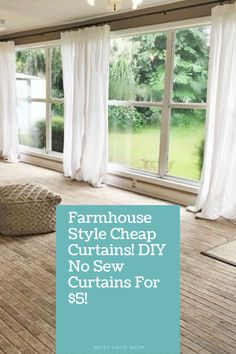 Beautiful farmhouse style curtains. Learn how to make these DIY No Sew curtains for just $5! @MustHaveMom Farmhouse Style Curtains, Farmhouse Style Decorating, Farmhouse Decor, Farmhouse Ideas, Modern Farmhouse, No Sew Curtains, Cheap Curtains, Traditional Curtains, Valentine Decorations
