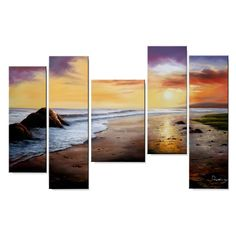 Artist: UnknownTitle: Tranquil BeachProduct type: Hand painted 5-piece gallery wrapped canvas art set