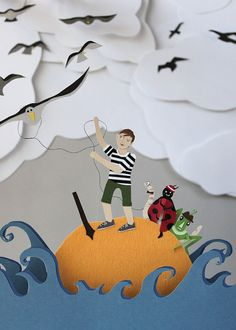 "Jayme McGowan created this ""Roald Dahl Papercuts"" based on the book ""James and the Giant Peach."""