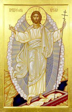 Icon of the Holy and Glorious Resurrection of Christ. Images Of Christ, Religious Images, Religious Icons, Religious Art, Christ Is Risen, Jesus Christ Crucified, Saint Esprit, Byzantine Icons, Catholic Art
