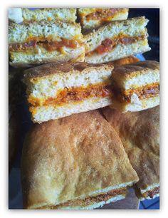 Les P'tits Trucs d'une Mam's: Foccacia poivron grillé, piment d'espelette, tomate et chorizo et foccacia comme un croque-monsieur.