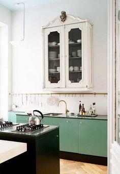 Vintage-Modern Kitchen and Dining Area : sfgirlbybay Green Kitchen, New Kitchen, Kitchen Dining, Kitchen Decor, Kitchen Cabinets, Green Cabinets, Kitchen Storage, Kitchen Ideas, Kitchen Tools