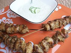 chicken skewers with tzatziki sauce  OH MY GOD DELICIOUS!!  the tziki sauce made WAY too much though, could have easily been halved.