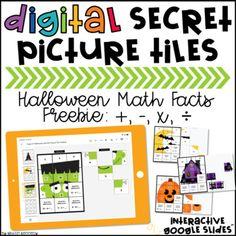 FREE Halloween Math Google Slides™ Secret Picture Tiles by Kristin Kennedy Halloween Math, Halloween Themes, Picture Tiles, Math Practices, Math Facts, Upper Elementary, 5th Grades, Google Classroom, Math Centers