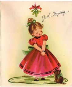 Pretty Lady Girl Dress Kitten Kitty Cat Mistletoe VTG Christmas Greeting Card