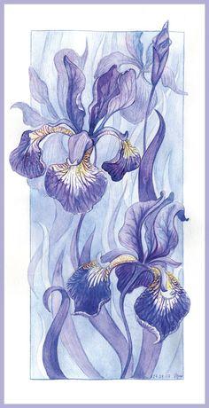 Картинки по запросу батик цветы ирисы