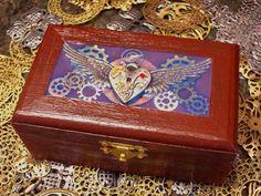 Flying Heart Steampunk Keepsake Box by AluminumButterfly on Etsy, $35.00