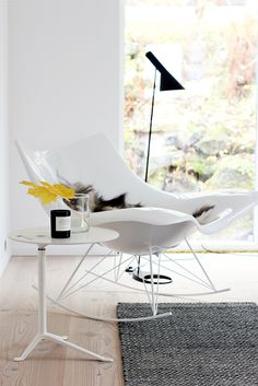 Little Friend side table by Kaspar Salto from Fritz Hansen, Stingray rocking chair by Thomas Pedersen from Fredericia Furniture and AJ floor lamp by Arne Jacobsen from Louis Poulsen