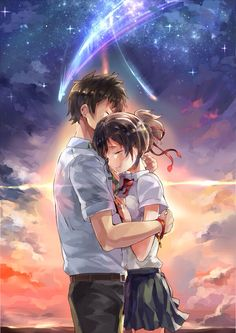 Your Name ~ 君の名は ~ Kimi no na wa 😍 Anime Pokemon, Anime Kawaii, Anime Love Couple, Cute Anime Couples, Manga Art, Manga Anime, Mitsuha And Taki, Anime Quotes Tumblr, Film Anime