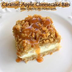 Caramel apple cheesecake bars    Ingredients  Crust:   2 cups all­purpose flour  ½ cup firmly packed brown sugar  1 cup (2 sticks) butter, softened   Cheesecake Filling:...