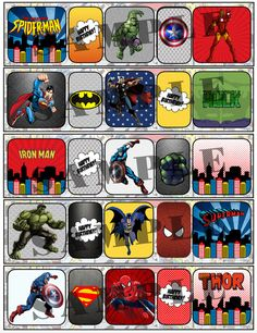 superhero water bottle labels template - Google Search | Teacher ...
