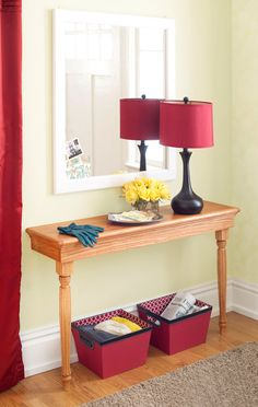 Space-Saving Entry Table   This narrow console table is a fitting addition to any entry.