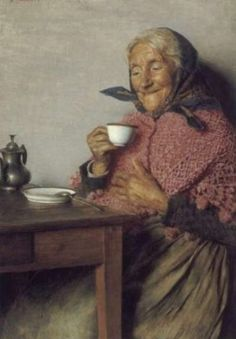 Genre Painting. tearemindes me of my grandma and me having our tea time togther.So now i have tea time with my grand daugthers.Making such beautiful memoeris