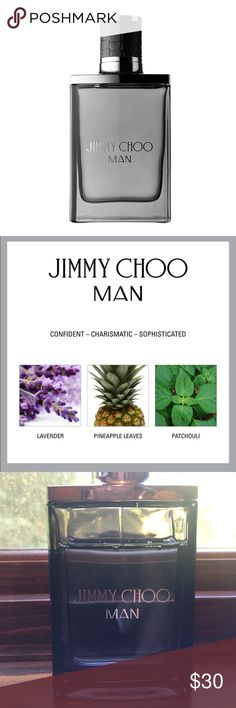 Jimmy Choo Man 1.7 spray The signature fragrance combines a seductive lavender and fresh honeydew melon blend with pink pepper and pineapple leaf, while an elegant trail of patchouli leaves a lasting imprint. 1.7ounce see photo for how much is gone Jimmy Choo Accessories