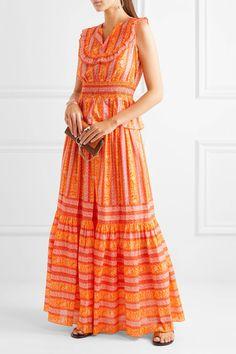 Tory Burch - Sunwise Shirred Printed Cotton-poplin Top - Orange - US