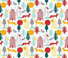 winter woodland fabric by oleynikka on Spoonflower - custom fabric