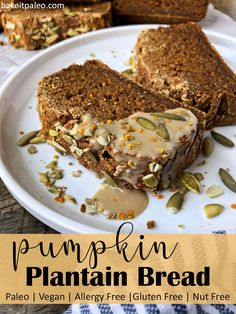 Pumpkin Plantain Bread | Paleo, Vegan and allergy free pumpkin bread made with green plantain flour. Perfect for a healthy, low sugar snack or breakfast. #plantain #plantainbread #paleo #vegan #allergyfree #nutfree Paleo Fall Recipes, Egg Free Recipes, Allergy Free Recipes, Baking Recipes, Flour Recipes, Bread Recipes, Low Sugar Snacks, No Sugar Foods, Sugar Free Desserts