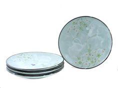 Green Cherry Blossom Plate Set of Four