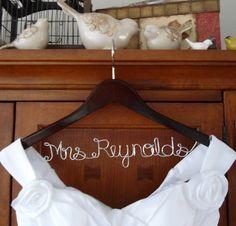 Bridal Hanger one Line Custom Bridal Hanger by BellsAndKisses
