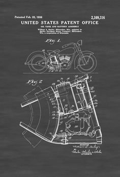 A patent print poster of a Harley Davidson Oil Tank and Battery Assembly invented by William S. Harley. The patent was issued by the United States Patent Office on February 22, 1938. William S. Harley co-founded Harley-Davidson with Arthur Davidson in 1903 and served as chief engineer of the company.Patent prints allow you ...