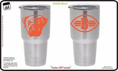 Cleveland Browns (Set of 2) Vinyl Decals for Yeti Tumbler Cup NFL Gear Sticker #DiamondDecals