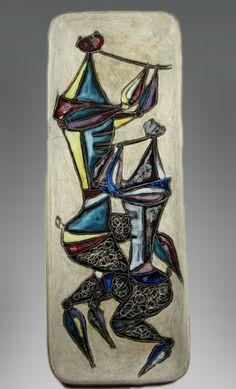 Marcello Fantoni; Glazed Ceramic Wall Plaque, 1950s.