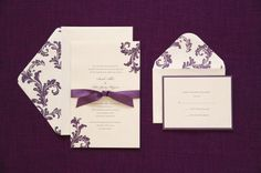 Michaels.com Wedding Department: BRIDES® Purple Invitations Print, assemble, and mail! Ivory cardstock with elegant embossed purple floral pattern. Includes printable invites, RSVP cards, coordinating purple accent ribbon and envelopes. 40 ct.