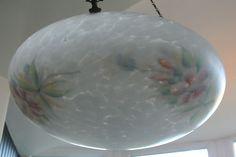 Splendid Art Deco Glass Ceiling Light Shade with Chains. | eBay
